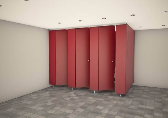3d render of red horizon toiler cubicles in red