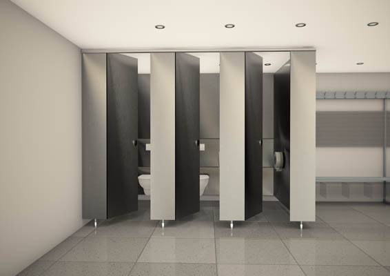 3d render of grey horizon washroom and cubicles
