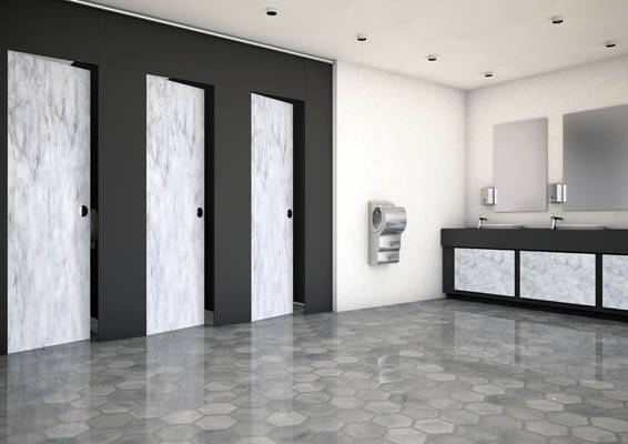 3d render of large luxury privacy cubicles and washroom